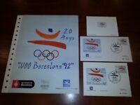Juego 20 años Olimpiadas Barcelona 1992 Prueba sobre tarjeta prueba documento