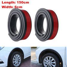 2PCS 59in Car Wheel Eyebrow Arch Trim Lips Strip Fender Flare Protector Black