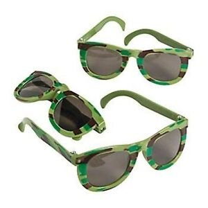 3 x CAMOUFLAGE ARMY SUNGLASSES KIDS CAMO PARTY FAVOUR PLASTIC SOLDIER EYE GLASS