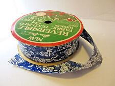 Vintage Christmas Ribbon Christmas Carolers Tywell Reverseable Satin  7 Yards