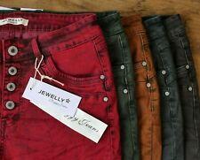♥️ Super 5  Farben JEWELLY Cool Dyed Baggy Boyfriend Jeans Knöpfe *987