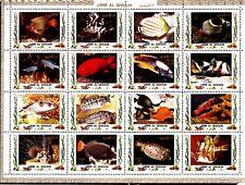 UMM EL KIWAIN Bloc 16 Timbres: poissons de mer, rivieres et aquarium SP91