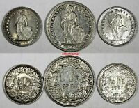 Switzerland Silver LOT OF 3 COINS 1920,1921,1931 1 Franc ,1/2 Franc  KM# 24;KM23