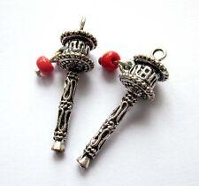 2Pcs Red Resin Alloy Metal Tibet Buddhist Prayer Wheel Shape Beads Finding