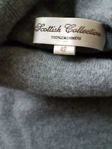 """UNISEX 100% CASHMERE POLO NECK SWEATER UK 42"""" BY SCOTTISH  COLLECTION / GREY"""