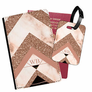 Personalised Marble PU Leather Passport Holder Travel Wallet & Luggage Tag - 34