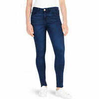 New Ladies F&F Skinny Jeans Womens Denim Mid Waisted Pants Overdye Blue Stretch