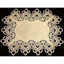 2pc Thick Lace Table Doilies Placemat Vintage Cream color Wedding Decoration