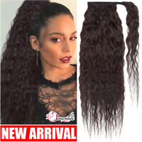 Corn Wave Wrap Around Ponytail 100% Remy Human Hair Extensions Curly Black THICK