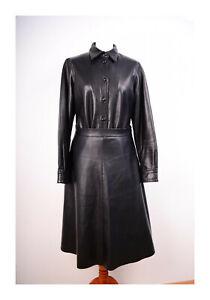 Fabiani Lederbluse Lederhemd schwarz Größe 40