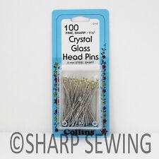"COLLINS VERY FINE CRYSTAL GLASS HEAD PINS 1 7/8"" 100 EACH # C110 110"