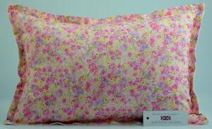 "Handmade Pink Floral Oxford Style Cushion Inc Pad 14""x20"" (36cm x 51cm)"