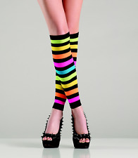 Bright Rainbow Leg Warmers Knee High Footless Hosiery New Women's 90-160 lbs