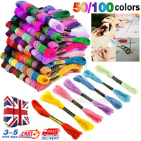 100X Mixed Different Colours Cross Stitch Cotton Sewing Skeins Embroidery Thread