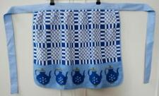 BN Vintage 1960's Blue & White Teapot Design Terry Towelling Apron Deadstock