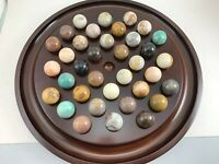 "BOMBAY CO. MARBLE BOARD GAME WITH STONE MARBLES 13 1/2"" DIAMETER"