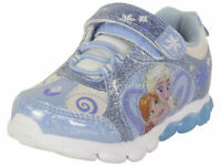 Disney Toddler Girl's Frozen Blue Light Up Sneakers Shoes Sz: 7T