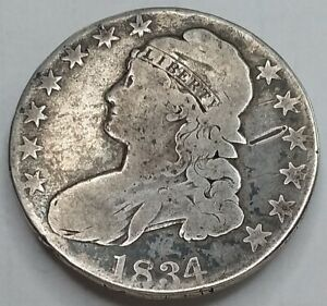 1834 Capped Bust Half Dollar, Nice But Well Circulated, Affordable Early Half