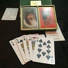 VINTAGE PLAYING CARDS DOG SERIES CONGRESS CEL-U-TONE 2 PACK COLLIE & SHEPHERD