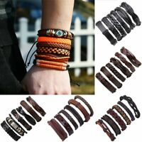 6pcs/set Men's Jewelry Punk Leather Wrap Braided Wristband Bracelet Bangle Gifts
