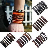 6pcs/set Men's Jewelry Punk Leather Wrap Braided Wristband Bracelet Bangle Gifts