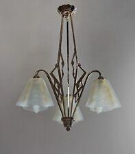 EZAN :  FRENCH OPALESCENT ART DECO CHANDELIER ................ 1930 1935 lustre