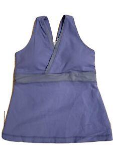 EUC Size 8 LULULEMON DEEP V TANK TOP Lavender With Gray Mesh