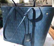 Liberty London Petrol Blue Tote Bag Emboss Leather Medium