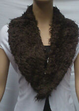 FASHION FAUX FUR COLLAR : PRE CUT AND FULLY LINED : CHOCOLATE : #T549 -