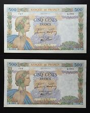 "FRANCE 500 FRANCS "" LA PAIX "" 6 FEVRIER 1941 BILLETS FRANÇAIS pr.SPLENDIDE - LOT"