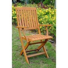 International Caravan Royal Tahiti Set of 2 Outdoor Folding Arm Chairs, Brown
