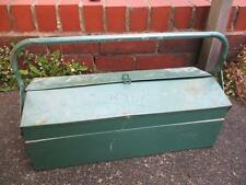 Vintage 1950's Green Metal Cantilever Tool Box Industrial Retro