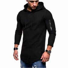 Men's Long Sleeve Cotton Shirts Hooded Muscle Tops Hoodie Casual Loose T-shirt