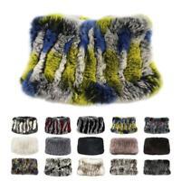 Women Furry Real Rex Rabbit Fur Scarf Snood Collar Bib Neck Warmer Smooth Gift