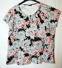 WHITE BLACK PINK FLORAL LADIES CASUAL TOP BLOUSE SIZE 18 M&CO PEPLUM