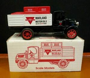 Ertl 1927 Mack Stake Truck cast iron bank, Marland Motor Oil Co.