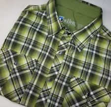 KUHL Eluxur S/S Pearl Snap Men's Shirt Small Green Plaid Hiking Outdoor Mountain