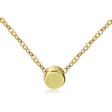 Womens Charm Gold Tone 925 Sterling Silver Round Tiny Dot Pendant Necklace Chain