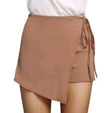 Wrap Skort Shorts Brown Semi-Sheer Dress Beach Casual Tie Side Zip Back Ladies 8