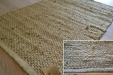 Jute Rug Handmade Flat Knotted Dhurrie Runner Large 120x180cm 4x6' Natural Eco