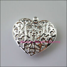 2Pcs Big Hollow Flower Heart Charms Pendants Silver Plated 38x40mm
