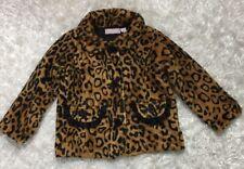 Kids Headquarters Size 4T Animal Print Girl Fleece Jacket Coat Brown and Black