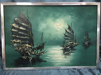 Vintage Original Asian Influence Oil Painting Artist Signed Nautical Junk Boats