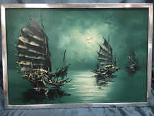 Vintage Original Asian Influence Oil Painting Artist Signed Nautical