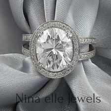 3.86CTW OVAL CUT MOISSANITE & DIAMONDS  DIAMOND ENGAGEMENT RING O11 SPLIT SHANK