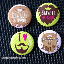 Beard Moustache FUNNY 4 Pack shirt & backpack BUTTON Gift for Folicle hair lover