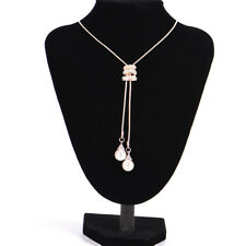 Long Pearl Rhinestone Pendant Necklace Sweater Chain Crystal Necklace Jewelry HF