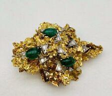 Brooch / Pendant Rare 18K Yellow Gold Diamonds Emeralds