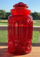"""L.E. SMITH MOON & STARS AMBERINA RED 11.25"""" APOTHECARY CANISTER  LID COOKIE JAR"""