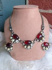 VINTAGE SELRO SELINI RUBY RED JELLY BELLY CAB RHINESTONE CHUNKY NECKLACE SET